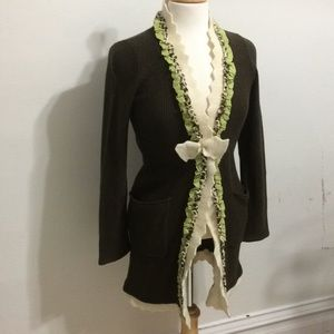 Boho Field and Flower Long Sweater with Lace edge
